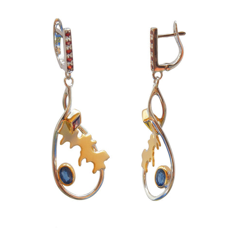 Adventure Road Dangle Earrings With Sapphire