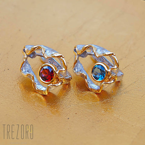Juvite Earrings With Garnet OR Topaz