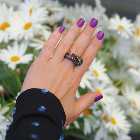 Amazing Surprise Ring With Amethyst Sterling Silver Oxidised