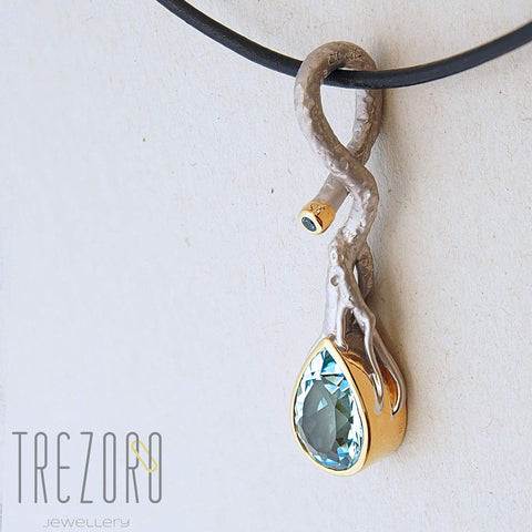 Juvite Large Pendant Necklace With Topaz