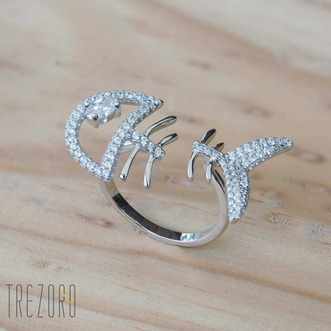 Fish Bone Funny Sterling Silver Rhodium Plated Ring