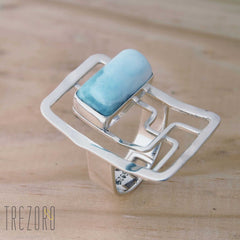 Sterling Silver and Larimar Statement Ring