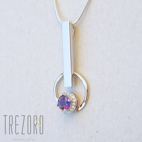 Geometrical Sterling Silver Pendant With Amethyst