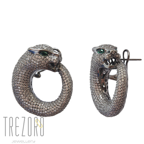 Ouroboros Designer Earrings - Sterling Silver & CZ