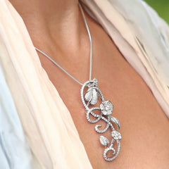 Love is in the Air Necklace Sterling Silver CZ