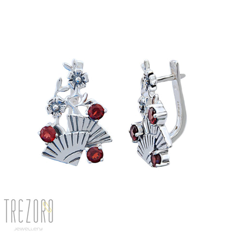 Flamenco Earrings Sterling Silver with Garnet