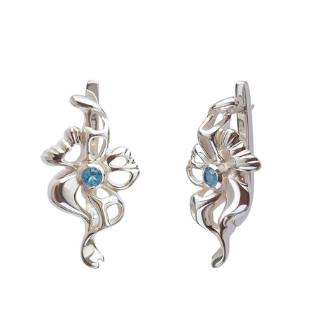 Sterling Silver Bridal Earrings With Topaz
