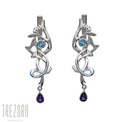 Amethyst and Topaz Sterling Silver Bridal Earrings