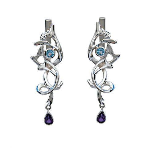 Bridal Drop Earrings With Topaz And Amethyst