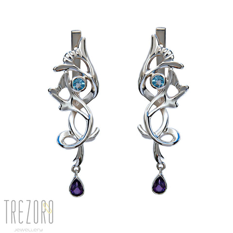 Designer Earrings - Sterling Silver Topaz Amethyst