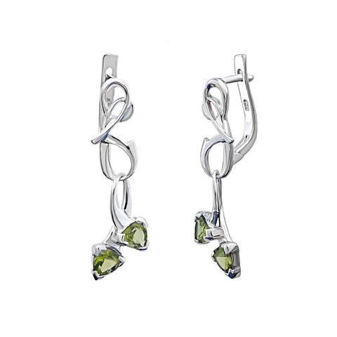 Piano Sonata Sterling Silver Earrings With Gren Peridot