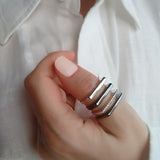 4Ever Sterling Silver wide band thumb ring contemporary unusual
