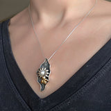 Gold Bee Flower Pearl Pendant Necklace Black
