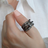 Black Bamboo Thumb Wide Sterling Silver Unusual Ring