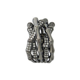 Black Bamboo Sterling Silver Evening Unusual Ring
