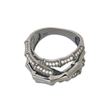 Black Bamboo Ring Contemporary Modern Cocktail Jewellery Sterling Silver