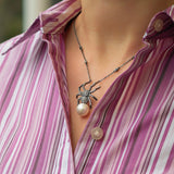Spider Necklace Black Sterling Silver Oxidised CZ Shell Pearl