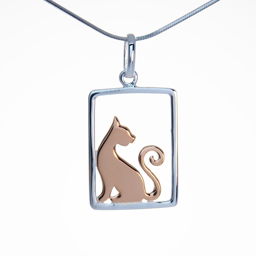 Cat Pendant Necklace Sterling Silver Trezoro Jewellery Austrlaia