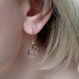 Earrings Sterling Silver Geometric Cube