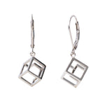 Cube Earrings Sterling Silver Geometric Jewellery