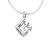 Cube Pendant Necklace Small Geometric Jewellery