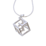 Geometric Cube Pendant Necklace Small