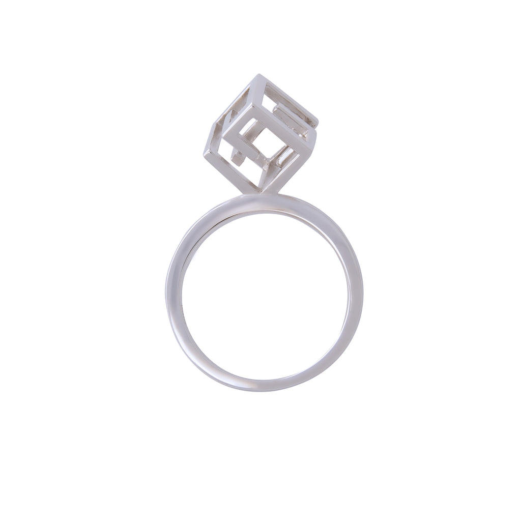 Geometric Cube Trendy Sterling Silver Ring