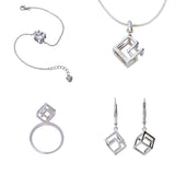 Cube Jewellery Set Ring Earrings Bracelet Pendant