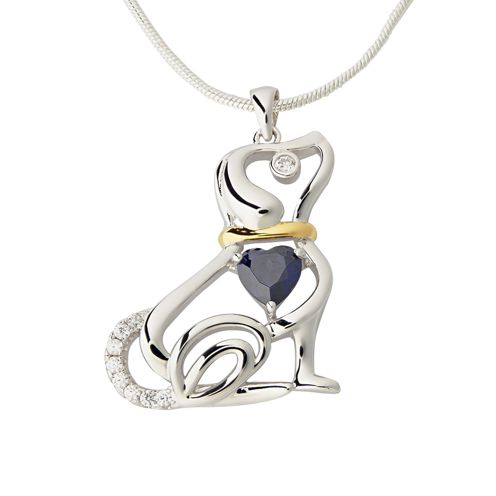 Dog With Blue Heart Pendant Necklace Sterling Silver Cubic Zirconia