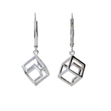 Drop Earrings Cube Geometric Jewellery Silver