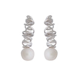 Intriue Long Earrings Contemporary Design White Natural Pearl