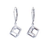 Earrings Cube Geometric Sterling Silver Contemporary