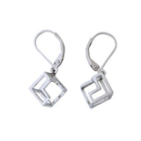 Silver Earrings Cube Geometric Contemporary Jewelry