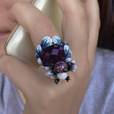 Frog Ring Large Statement Silver Black Purple Stone