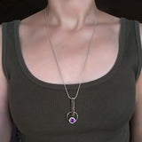 Geometric Contemporary Silver Pendant Necklace Amethyst