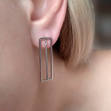Earrings Rectangle Geometric Contemporary Silver Jewelry