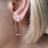 Earrings Sterling Silver Long Contemporary Geometric Jewellery