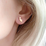 Small Cats Stud Earrings Sterling Silver Gold Plated
