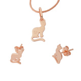 Cats Earrings Pendant Jewellery Set Sterling Silver Gold Plated
