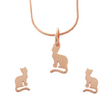 Gold Cats Small Studs Necklace Jewellery Set