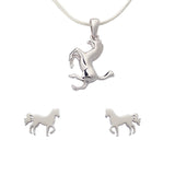 Horses Jewellery Set Sterling Silver Earrings Necklace