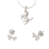 Horses Sterling Silver Earrings Pendant Necklace Set