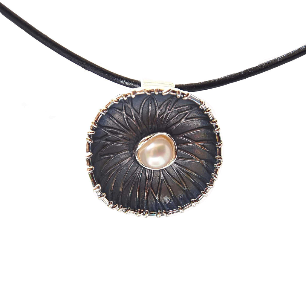 Pendant Necklace White Pearl Black Sterling Silver Contemporary Modern Unusual Jewellery