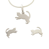 Kittens Jewellery Set Sterling Silver Cats Earrings Pendant
