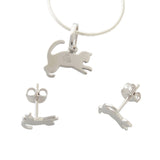 Sterling Silver Jewellery Set Kittens Earrings Pendant Necklace