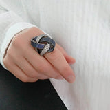 Twist Of Fate Statement Ring With Blue and White  Cubic Zirconia Sterling Silver - Trezoro Jewellery Online Store