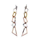 Long Unusual Chain Earrings Sterling Silver Gold