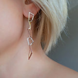 Drop Dangle Long Earrings Chain Silver Gold
