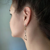 Dangle Long Chain Earrings Sterling Silver Gold Plated