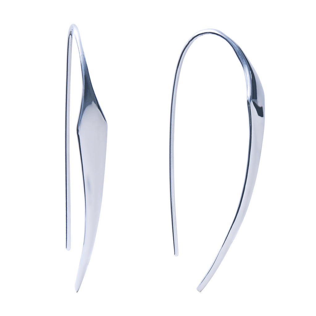 Large Hoop Earrings Sterling Silver Long Contemporary